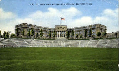 El Paso High School And Stadium - Texas TX Postcard