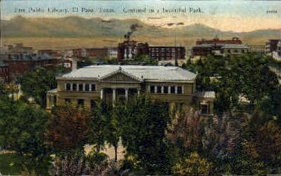 Free Public Library  - El Paso, Texas TX Postcard