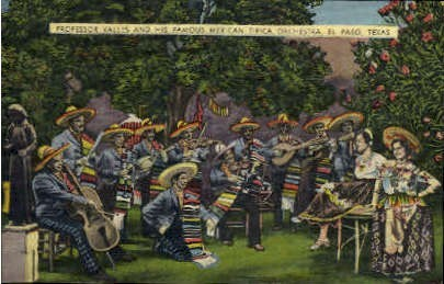 Mexican Orchestra - El Paso, Texas TX Postcard