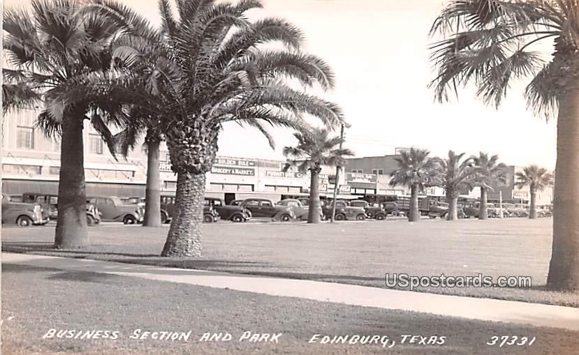 Business Section and Park - Edinburg, Texas TX Postcard