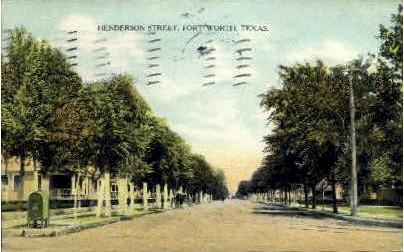 Henderson Street - Fort Worth, Texas TX Postcard
