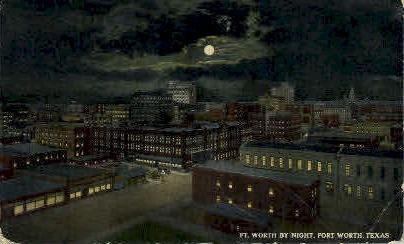 Fort Worth By Night - Texas TX Postcard
