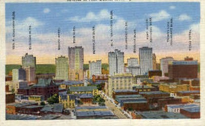 Skyline of Fort Worth - Texas TX Postcard