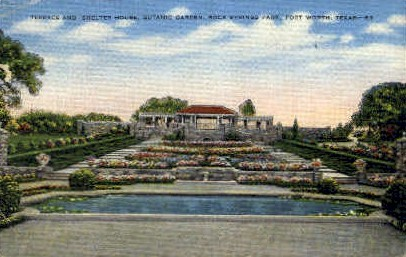 Terrace And Shelter House - Fort Worth, Texas TX Postcard