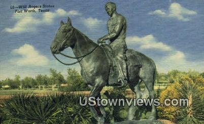 Will Rogers Statue - Fort Worth, Texas TX Postcard