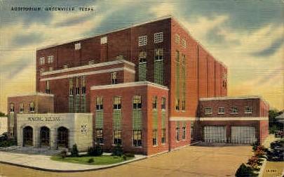 Auditorium - Greenville, Texas TX Postcard