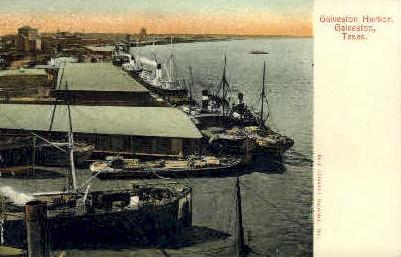 Galveston Harbor - Texas TX Postcard