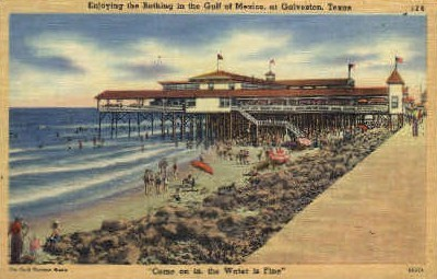 Bathing In The Gulf Of Mexico - Galveston, Texas TX Postcard