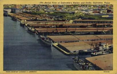 Aerial View of Harbor And Docks - Galveston, Texas TX Postcard