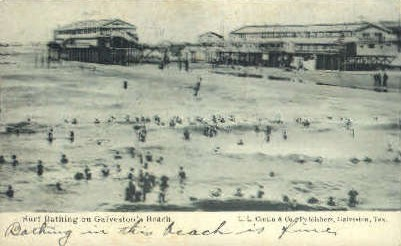 Surf Bathing - Galveston, Texas TX Postcard