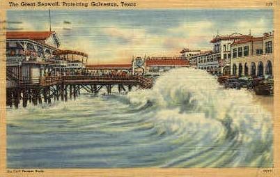 The Great Seawall - Galveston, Texas TX Postcard