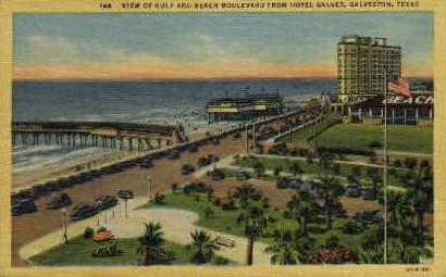 View Of Gulf and Beach - Galveston, Texas TX Postcard