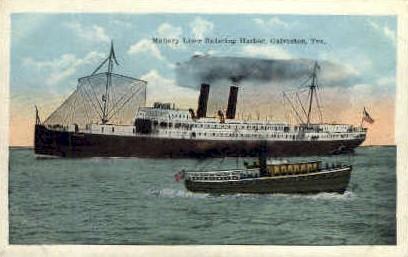 Mallory Liner Entering Harbor - Galveston, Texas TX Postcard