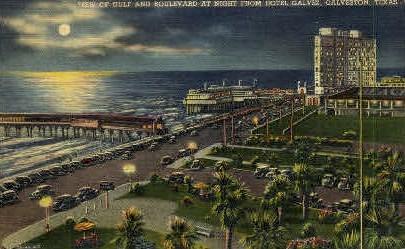 View OF Gulf and Boulevard - Galveston, Texas TX Postcard