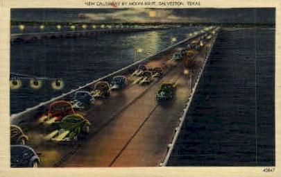 New Causeway - Galveston, Texas TX Postcard