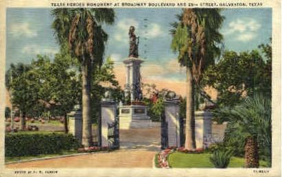 Texas Heroes Monument - Galveston Postcard