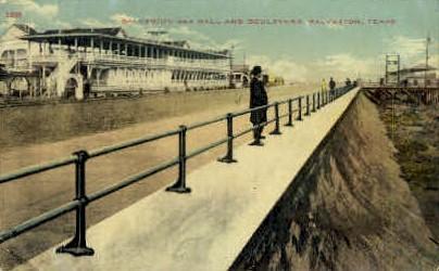 Galveston Sea Wall & Boulevard - Texas TX Postcard