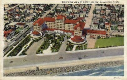 Birds Eye View Of Hotel Galvez - Galveston, Texas TX Postcard