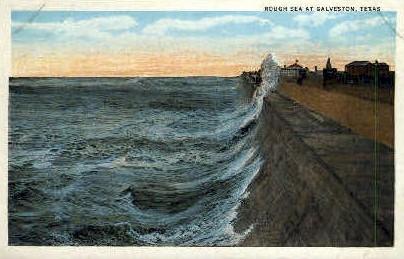 Rough Sea  - Galveston, Texas TX Postcard
