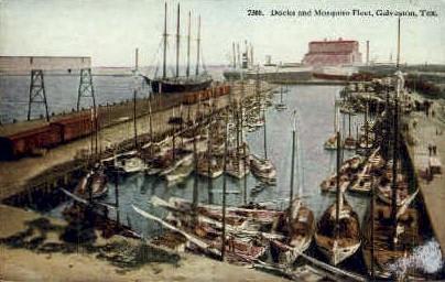 Docks And Mosquito Fleet  - Galveston, Texas TX Postcard