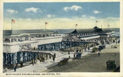 Bath Houses and Boulevard - Galveston, Texas TX Postcard