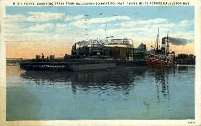 G & I Ferry Carrying Train From Galveston - Texas TX Postcard