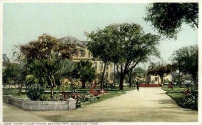 County Courthouse, Central Park - Galveston, Texas TX Postcard