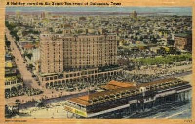 A Holiday Crowd On The Beach - Galveston, Texas TX Postcard