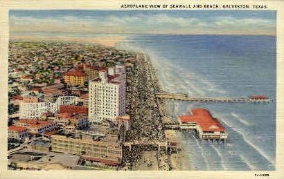 Seawall And Beach - Galveston, Texas TX Postcard