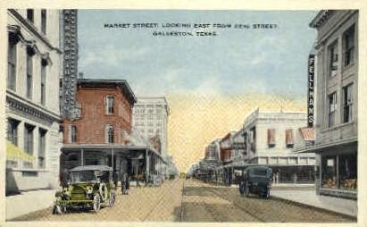 Market Street - Galveston, Texas TX Postcard