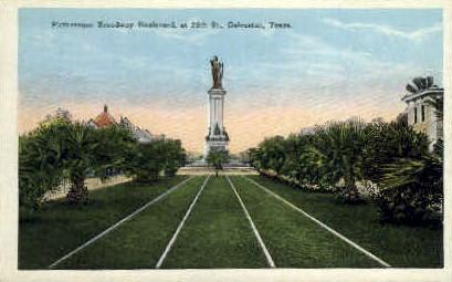 Broadway Boulevard - Galveston, Texas TX Postcard