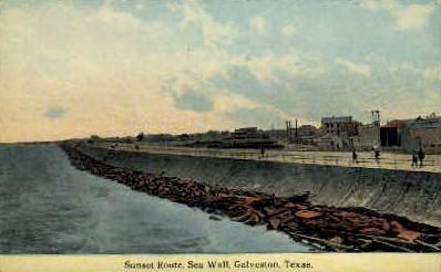 Sunset Route - Galveston, Texas TX Postcard