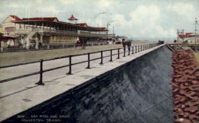 Sea Wall and Drive  - Galveston, Texas TX Postcard