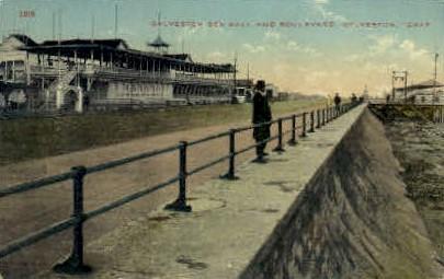 Sea Wall - Galveston, Texas TX Postcard