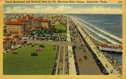 Beach Boulevard And Seawall - Galveston, Texas TX Postcard