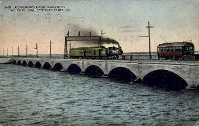 Great Causeway - Galveston, Texas TX Postcard