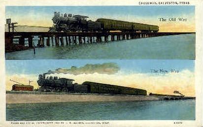 Causeway - Galveston, Texas TX Postcard