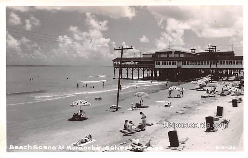 Beach Scene at Murdoch's - Galveston, Texas TX Postcard