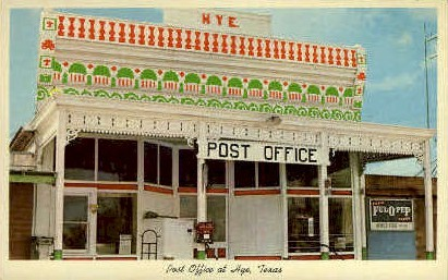 Post Office - Hye, Texas TX Postcard