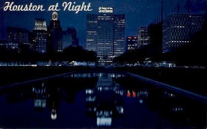 Houston At Night - Texas TX Postcard