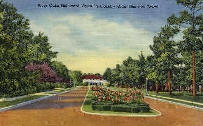 River Oaks Boulevard - Houston, Texas TX Postcard