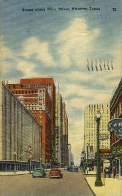 Main Street - Houston, Texas TX Postcard