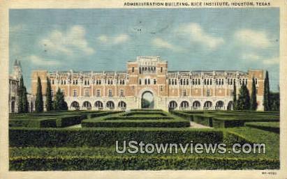 Admin Bldg, Rice Institute - Houston, Texas TX Postcard