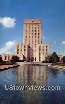 City Hall & Reflection Pool - Houston, Texas TX Postcard