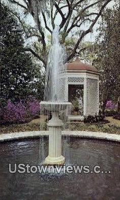 Fountain at Rosedown - Houston, Texas TX Postcard