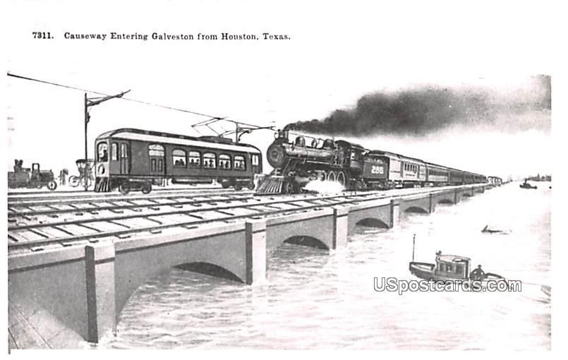 Causeway Entering Galveston - Houston, Texas TX Postcard