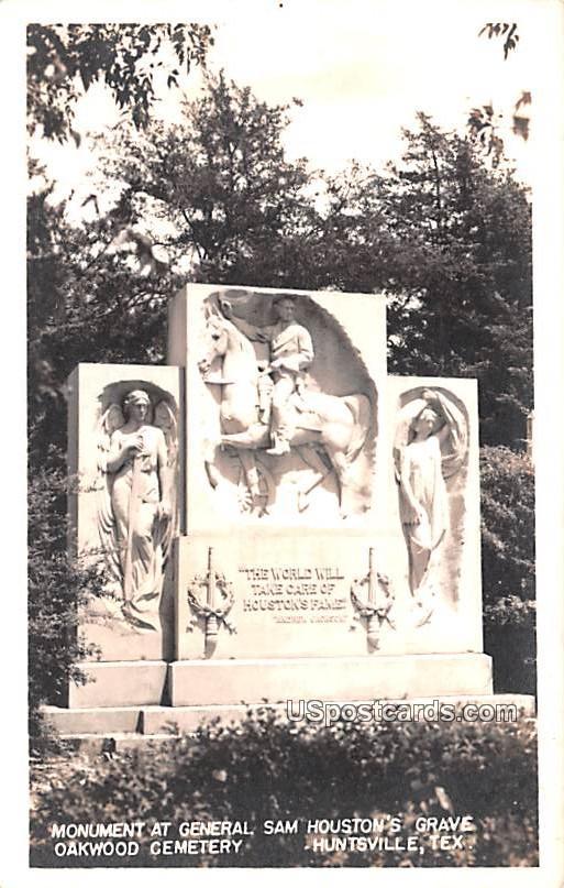 Monument at General San Houston's Grave - Huntsville, Texas TX Postcard