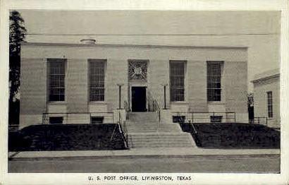 U. S. Post Office - Livingston, Texas TX Postcard