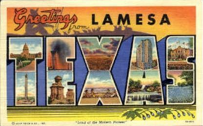 Greetings - Lamesa, Texas TX Postcard