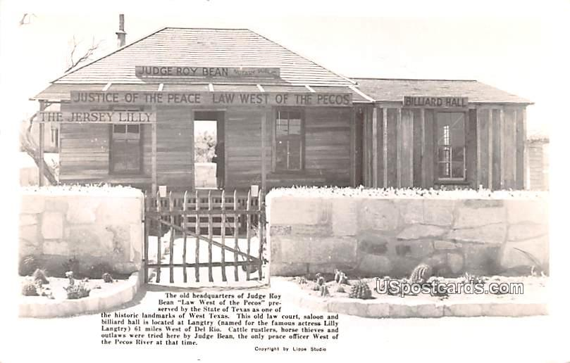 Old Headquarters of Judge Roy bean - Langtry, Texas TX Postcard